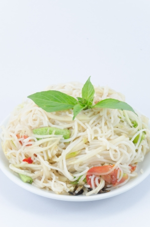 Thai food ' Som tam ' on white backgrounds. photo