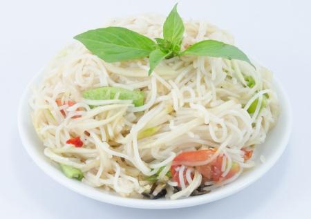 tam: Thai food Som tam on white backgrounds.