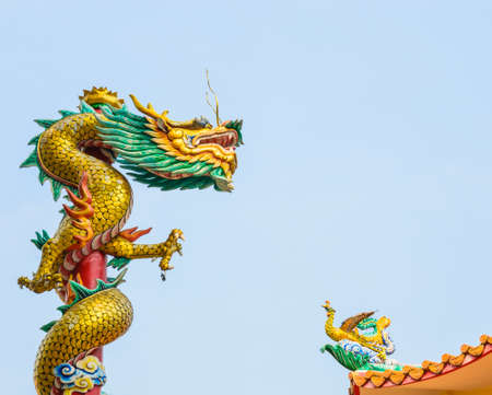 Dragon statue at wat in temple photo