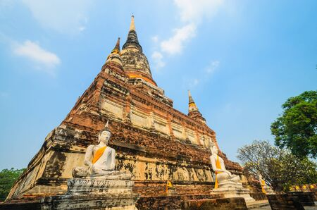 old big pagoda in mongkol temple at ayutthaya province (Thailand) photo