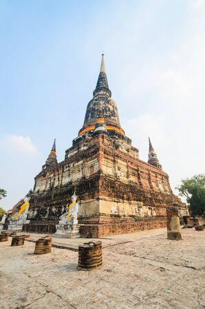 old big pagoda in mongkol temple at ayutthaya province (Thailand) Stock Photo - 17496392