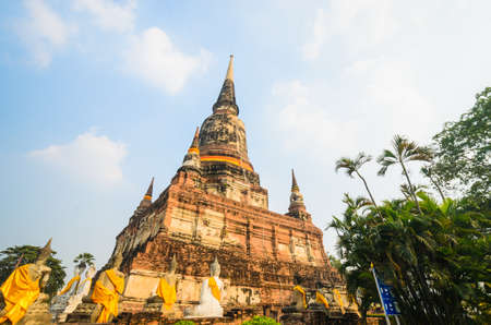 old big pagoda in mongkol temple at ayutthaya province (Thailand)