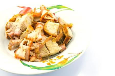 chicharon: crispy pork on white backgrounds.