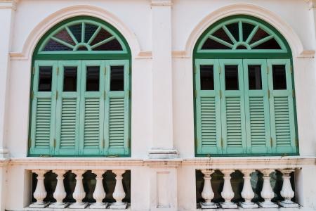 Beautiful green wood windows. photo