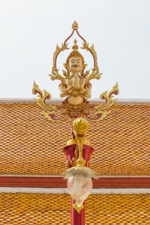 tradition thai style lamp in the temple of bangkok province. photo