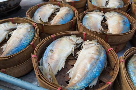 fish in the street market from thailand. photo