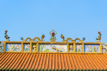 tradition  roof chinese style at the temple in bangkok province (Thailand) photo