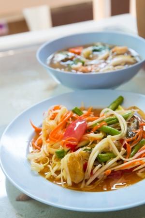 tam: Thai food  Som tam  Stock Photo
