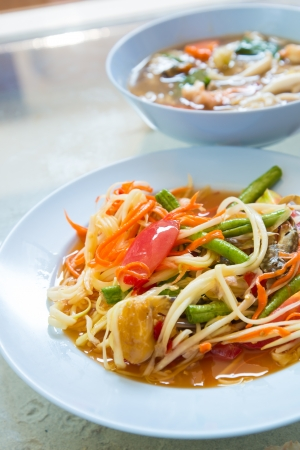 tam: Thai food  Som tam  Stock Photo