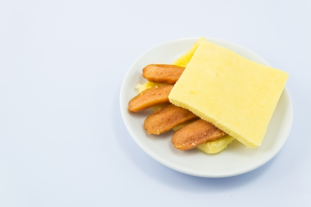 Sandwich sausage on white backgrounds. photo