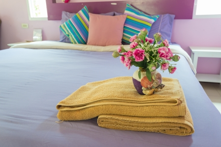 Bedroom style with colorful pillow photo