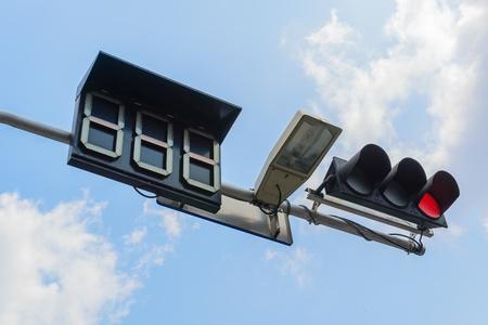 traffic light with bluesky photo