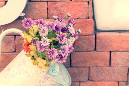Beautiful fake flower process in vintage style photo