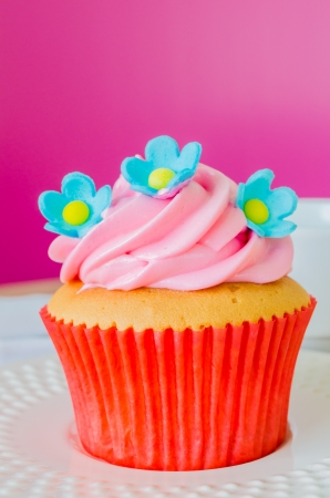Cupcake on wood table photo