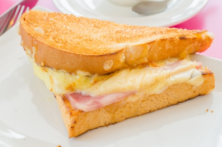 Sanwich ham&cheese with honey sauce photo