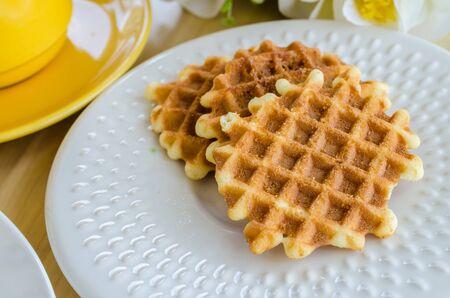 treacle: Waffle on white dish Stock Photo
