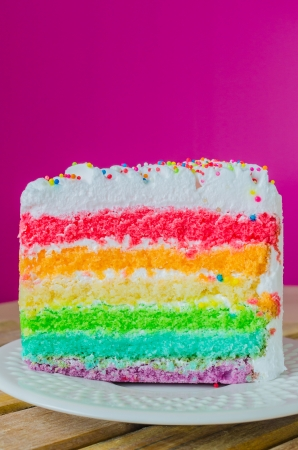 Rainbow cake in white dish photo