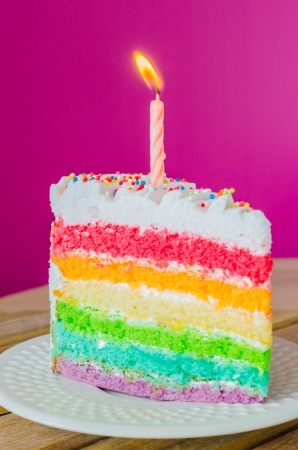 Rainbow cake with candle on white dish photo