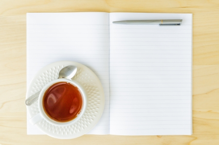 Paper note with white cup tea photo