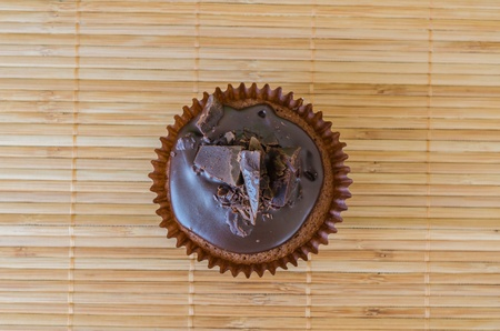 Chocolate cupcake on the table photo