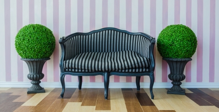 Vintage sofa on the colorful wall photo