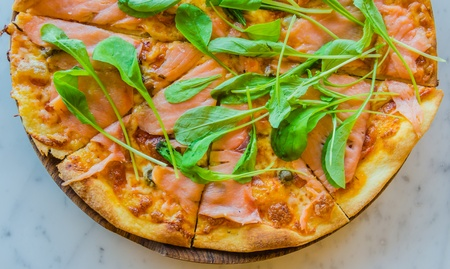 Pizza smoke salmon photo