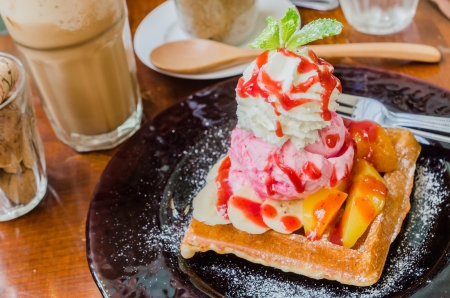 Fruit Waffle with strawberry icecream photo