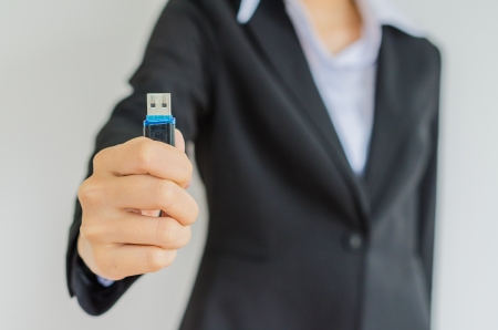 gigabyte: Business woman with usb Stock Photo