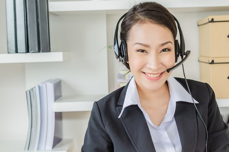 Business women with headphone