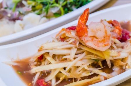 long bean: Green papaya salad with shrimp