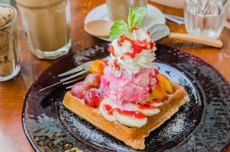 Fruit Waffle with strawberry icecream photo