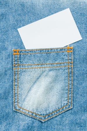 Jeans texture for background with white note photo