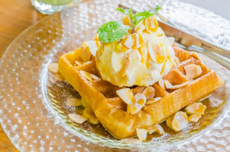 Waffle and icecream photo
