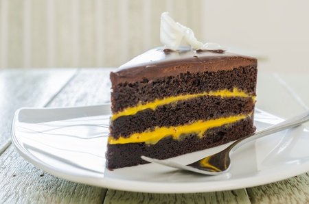 Chocolate with orange sauce photo