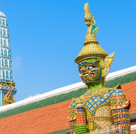 Tradition thai style statue in the temple of bangkok province (Thailand) photo