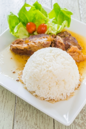 Rice and pork steamed photo