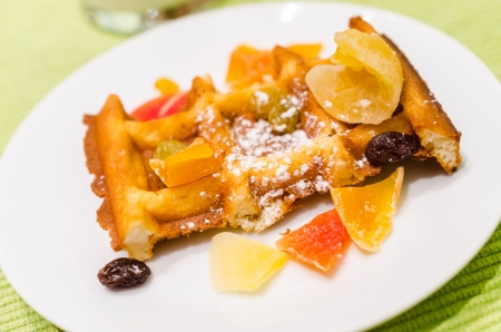 Waffle with fruit on top photo