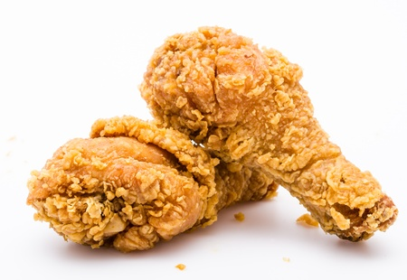 Gebratenes Huhn auf weißem Hintergrund Standard-Bild - 21868604