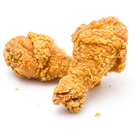 crunchy: Fried chicken on white background