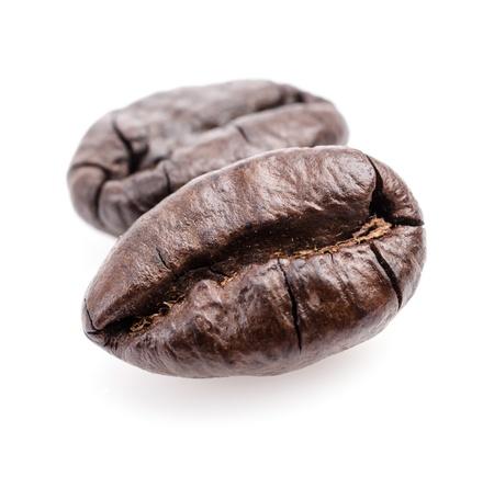 robusta: Coffee beans on white background