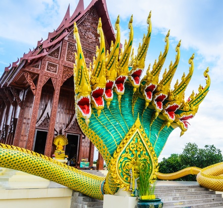 Thai temple and naga in Thailand photo