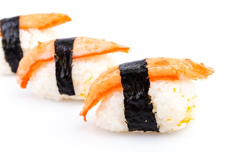 Sushi crab stick on white background photo