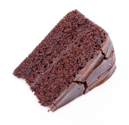 Chocolate cake on white background photo