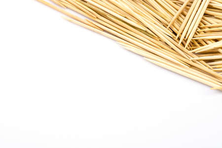 Toothpicks on white background photo