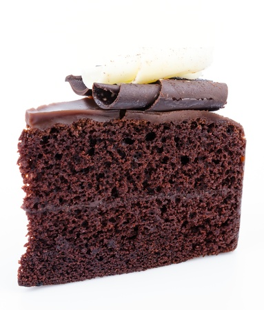 dark: Chocolate cake on white background