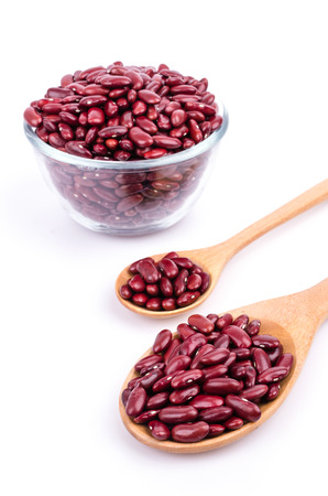 Red Beans on white background photo