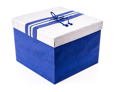 Blue gift box on white background photo