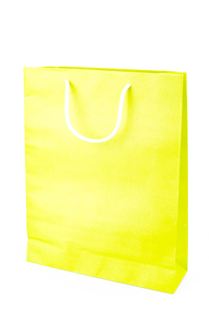 vertical format: Green paper bag on white background