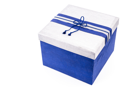 Blue gift box on white background Stock Photo - 22327090