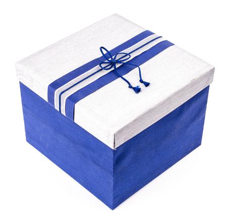 Blue gift box on white background Stock Photo - 22327091
